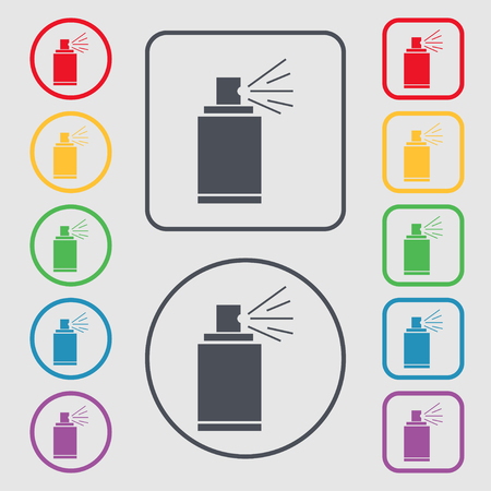 paint can: Graffiti spray can sign icon. Aerosol paint symbol. Symbols on the Round and square buttons with frame. Vector illustration Illustration