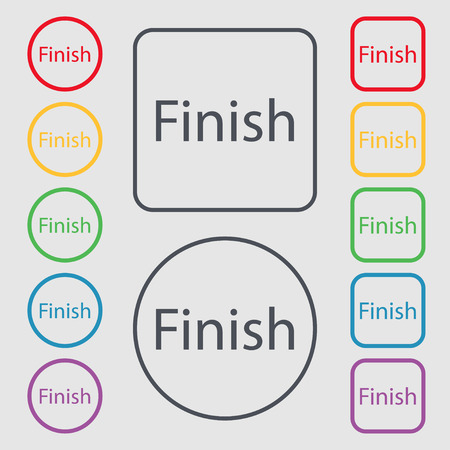 abort: Finish sign icon. Power button. Symbols on the Round and square buttons with frame. Vector illustration Illustration