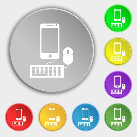 keyboard and mouse: smartphone widescreen monitor, keyboard, mouse sign icon. Symbols on eight flat buttons. Vector illustration