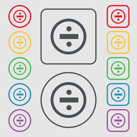 dividing: dividing icon sign. Symbols on the Round and square buttons with frame. Vector illustration Illustration