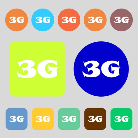 3g: 3G sign icon. Mobile telecommunications technology symbol.12 colored buttons. Flat design. Vector illustration