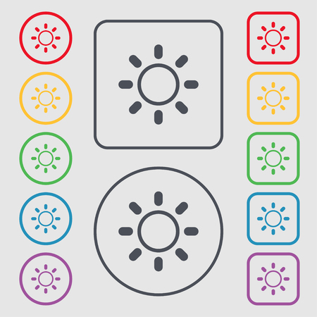 brightness: Brightness icon sign. Symbols on the Round and square buttons with frame. Vector illustration