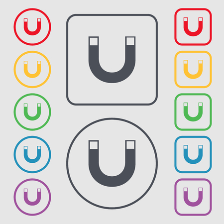 electromagnetic field: magnet sign icon. horseshoe it symbol. Repair sig. Symbols on the Round and square buttons with frame. Vector illustration