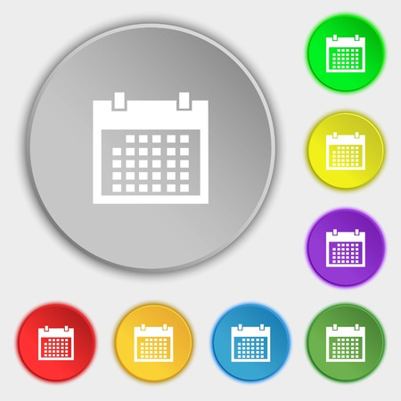 event planning: Calendar sign icon. days month symbol. Date button. Symbols on eight flat buttons. Vector illustration