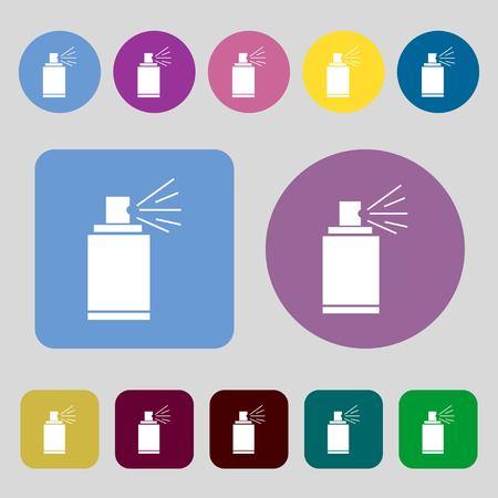 aerosol can: Graffiti spray can sign icon. Aerosol paint symbol.12 colored buttons. Flat design. Vector illustration