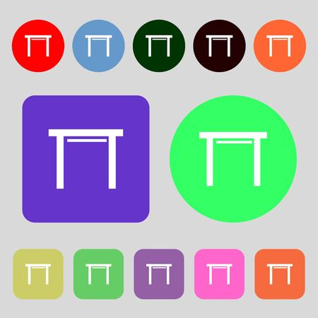 furnishing: stool seat icon sign.12 colored buttons. Flat design. Vector illustration