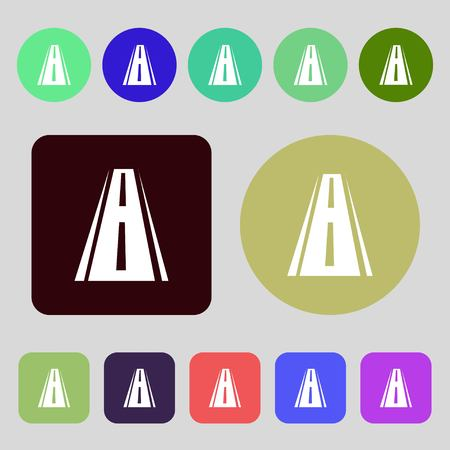bitumen: Road icon sign.12 colored buttons. Flat design. Vector illustration