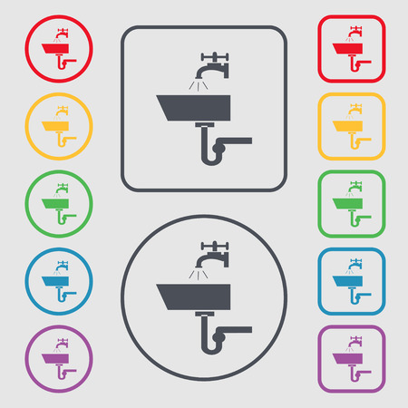 plating: Washbasin icon sign. Symbols on the Round and square buttons with frame. Vector illustration