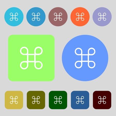 maestro: Keyboard Maestro icon.12 colored buttons. Flat design. Vector illustration Illustration