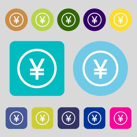 saving accounts: Japanese Yuan icon sign.12 colored buttons. Flat design. Vector illustration Illustration