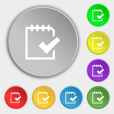 page long: Edit document sign icon. Symbols on eight flat buttons. Vector illustration Illustration