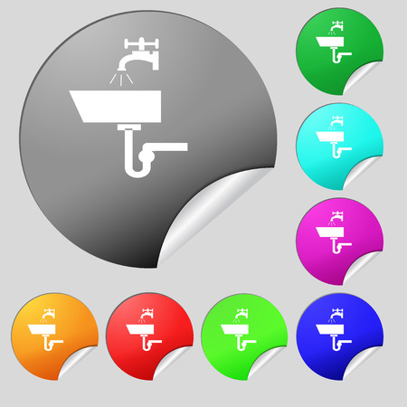 plating: Washbasin icon sign. Set of eight multi colored round buttons, stickers. Vector illustration