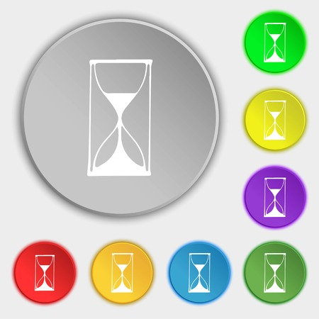 sand timer: Hourglass sign icon. Sand timer symbol. Symbols on eight flat buttons. Vector illustration