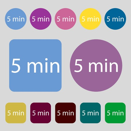 minutes: 5 minutes sign icon.12 colored buttons. Flat design. Vector illustration