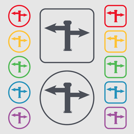 Blank Road Sign Icon Sign Symbols On The Round And Square Buttons