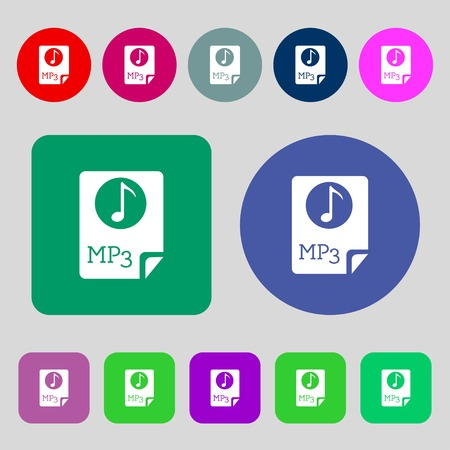file types: Audio, MP3 file icon sign.12 colored buttons. Flat design. Vector illustration