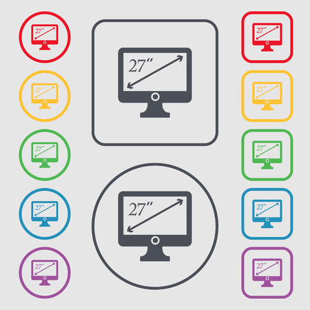 inches: diagonal of the monitor 27 inches icon sign. Symbols on the Round and square buttons with frame. Vector illustration Illustration