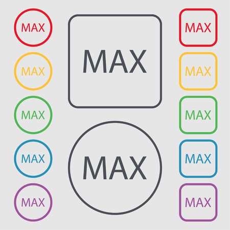 extremity: maximum sign icon. Symbols on the Round and square buttons with frame. Vector illustration Illustration