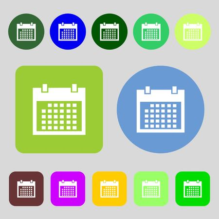 event planning: Calendar sign icon. days month symbol. Date button.12 colored buttons. Flat design. Vector illustration