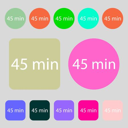 45: 45 minutes sign icon.12 colored buttons. Flat design. Vector illustration Illustration