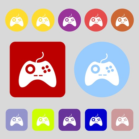 quality controller: Joystick sign icon. Video game symbol.12 colored buttons. Flat design. Vector illustration Illustration