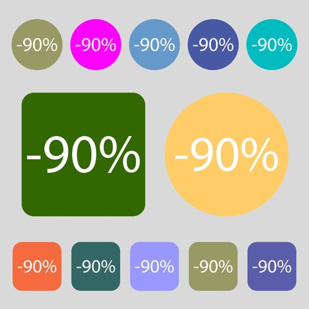 sale sign: 90 percent discount sign icon. Sale symbol. Special offer label.12 colored buttons. Flat design. Vector illustration