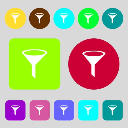 filtering: Funnel icon sign.12 colored buttons. Flat design. Vector illustration