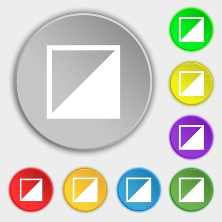contrast: contrast icon sign. Symbols on eight flat buttons. Vector illustration