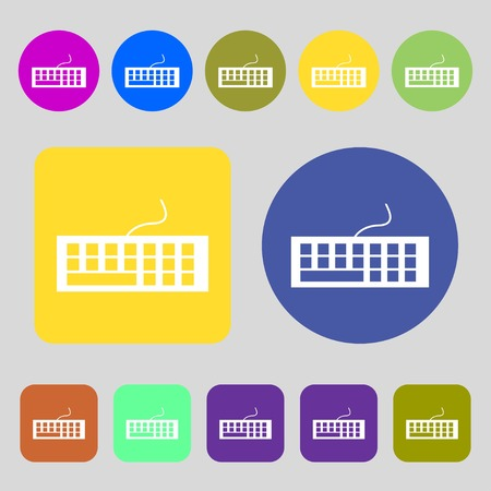 qwerty: Computer keyboard Icon.12 colored buttons. Flat design. Vector illustration