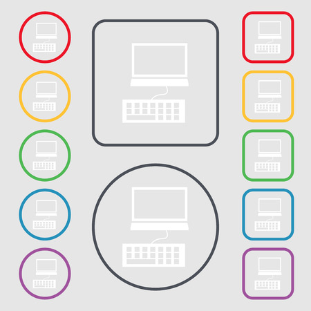 input device: Computer monitor and keyboard Icon. Symbols on the Round and square buttons with frame. Vector illustration
