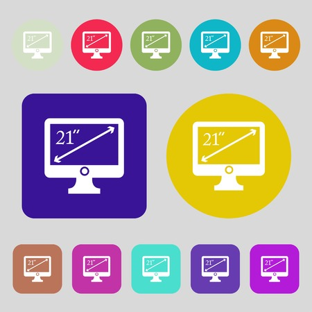 inches: diagonal of the monitor 21 inches icon sign.12 colored buttons. Flat design. Vector illustration