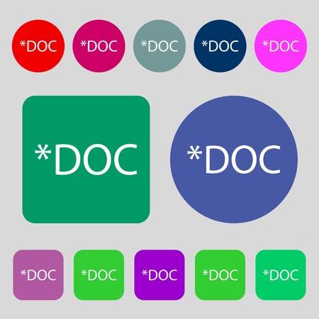 doc: File document icon. Download doc button. Doc file extension symbol.12 colored buttons. Flat design. Vector illustration Illustration