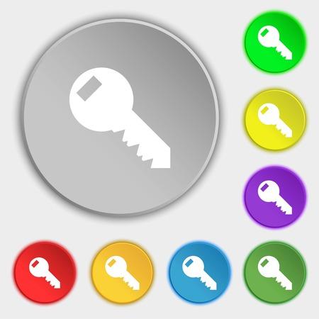 Key sign icon. Unlock tool symbol.. Symbols on eight flat buttons. Vector illustration