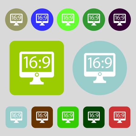 aspect: Aspect ratio 16:9 widescreen tv icon sign.12 colored buttons. Flat design. Vector illustration Illustration