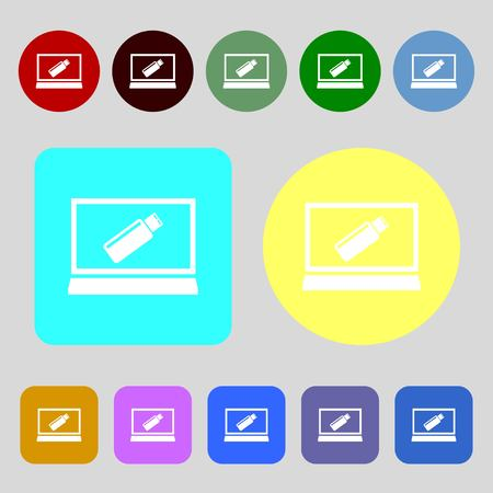game drive: usb flash drive and monitor sign icon. Video game symbol.12 colored buttons. Flat design. Vector illustration