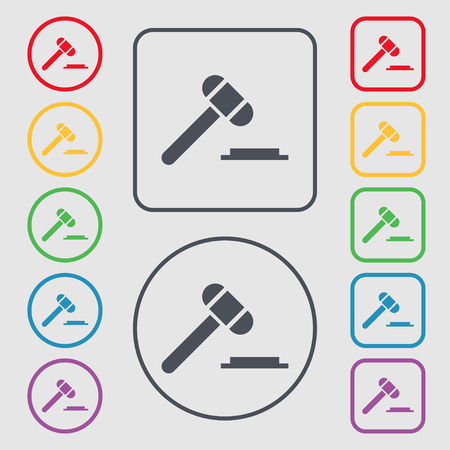 arbitrate: judge hammer icon. Symbols on the Round and square buttons with frame. Vector illustration