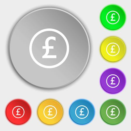 sterling: Pound sterling icon sign. Symbols on eight flat buttons. Vector illustration