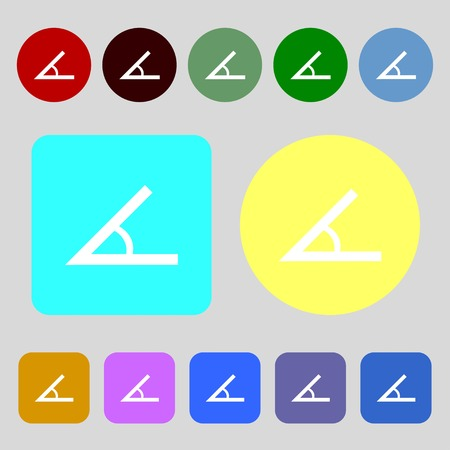 45: Angle 45 degrees icon sign.12 colored buttons. Flat design. Vector illustration Illustration