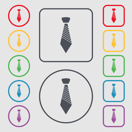 regular people: Tie sign icon. Business clothes symbol. Symbols on the Round and square buttons with frame. Vector illustration