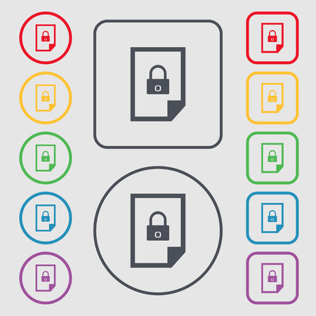 lockout: File locked icon sign. Symbols on the Round and square buttons with frame. Vector illustration