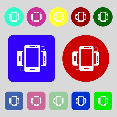 sync: Synchronization sign icon. smartphones sync symbol. Data exchange.12 colored buttons. Flat design. Vector illustration Illustration