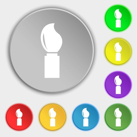 painter and decorator: Paint brush sign icon. Artist symbol. Symbols on eight flat buttons. Vector illustration