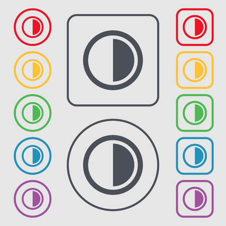 contrast: contrast icon sign. Symbols on the Round and square buttons with frame. Vector illustration
