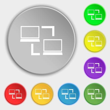 data synchronization: Synchronization sign icon. Notebooks sync symbol. Data exchange. Symbols on eight flat buttons. Vector illustration