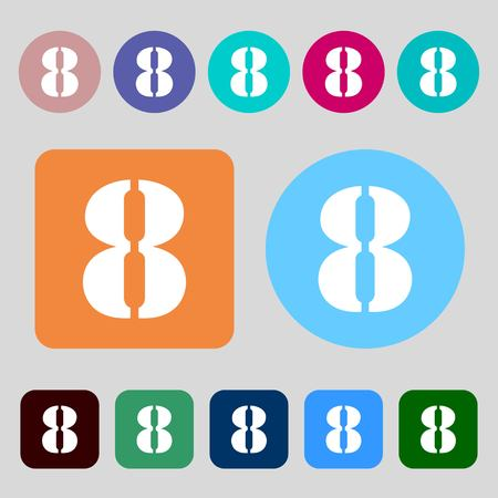 number eight: number Eight icon sign.12 colored buttons. Flat design. Vector illustration