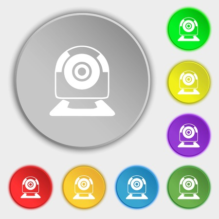 video chat: Webcam sign icon. Web video chat symbol. Camera chat. Symbols on eight flat buttons. Vector illustration