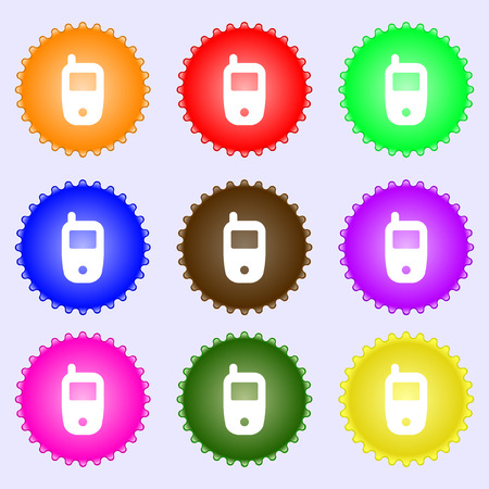 telecommunications technology: Mobile telecommunications technology symbol. A set of nine different colored labels. Vector illustration