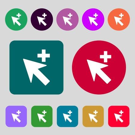 add icon: Cursor, arrow plus, add icon sign.12 colored buttons. Flat design. Vector illustration Illustration