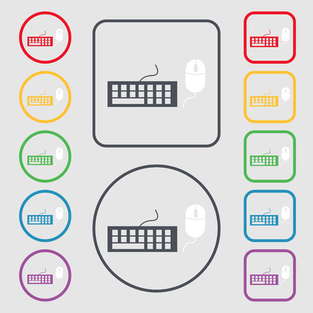peripheral: Computer keyboard and mouse Icon. Symbols on the Round and square buttons with frame. Vector illustration