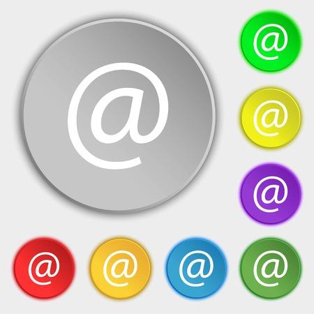 symbols commercial: commercial at. Set Flat modern. Symbols on eight flat buttons. Vector illustration Illustration